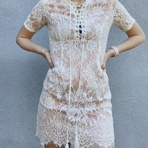White Lace Tie Front Formal Dress